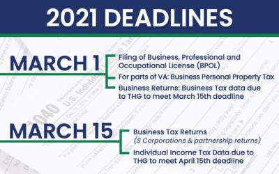 2021 Tax Deadlines